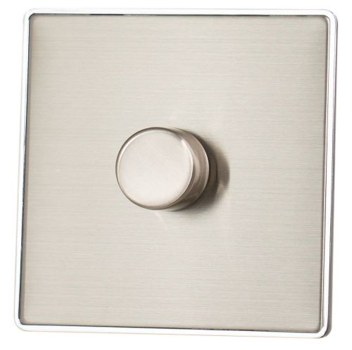 G&H LSS11 Screwless Brushed Steel 1 Gang 1 or 2 Way 40-400W Dimmer Switch